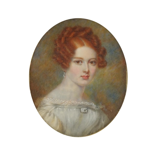 8 - 19th century oval hand painted portrait miniature of Annie, daughter of Daniel and Anne Mackinlay, i...