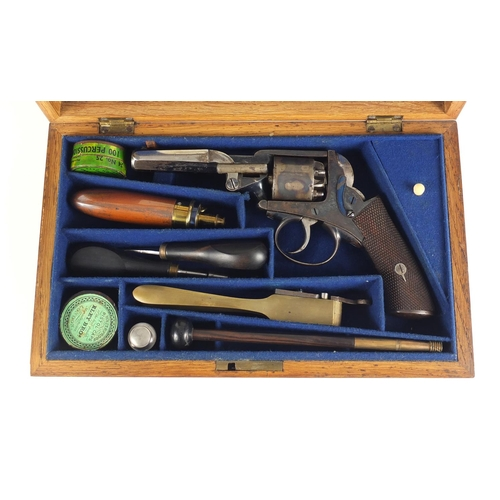 286 - 19th century percussion double action revolver by George Gibbs with oak box housing accessories incl...