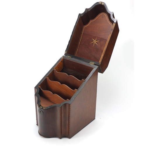 34 - Georgian mahogany knife box converted to a stationery box with shell inlay, 37cm high x 22.5cm wide ...