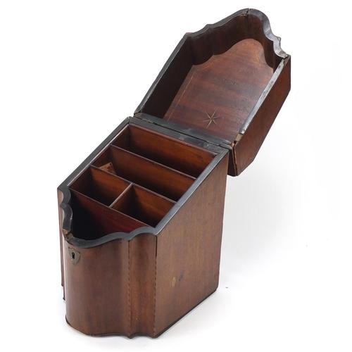 35 - Georgian mahogany knife box converted to a stationery box, 35cm high x 22.5cm wide x 25.5cm deep...