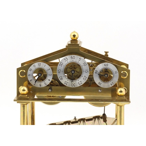 1 - Gilt Brass Congreve rolling ball clock by Dent and Co of London, with fusee movement and three chapt...