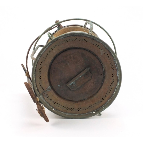 51 - Copper and brass ship's lantern, with Clarke and Son Cowes plauqe, 39cm high...