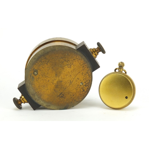 44 - Brass cased compensated pocket barometer by Mottershead and Co of Manchester, and a compass inscribe...