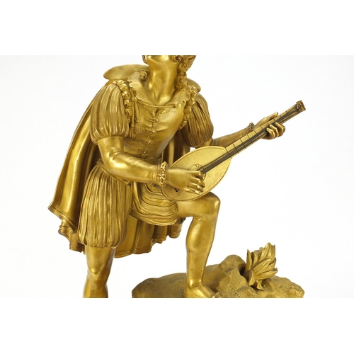 9 - French Empire ormolu figural mantel clock striking on a bell by Alexandre Roussel, mounted with a cl...