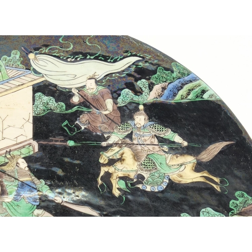 351 - Good Chinese porcelain half moon stand, hand painted in the famille verte palette with warriors on h...