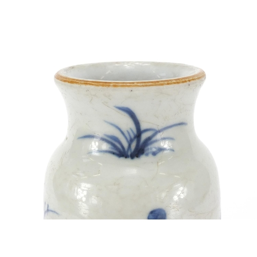 353 - Chinese blue and white porcelain vase, hand painted with birds amongst blossoming trees, 23cm high