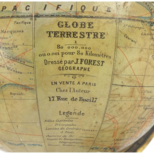 47 - French terrestrial desk globe with ebonised stand, 37cm high...