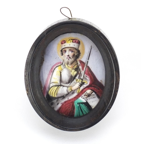 24 - Antique Russian enamel icon hand painted with a St Joseph, housed in an ebonised framed, script to t...