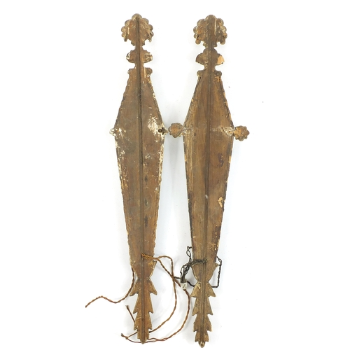 49 - Pair of 18th century carved wood girondels with mirrored glass, shell topped and leaf bases, 90cm hi...