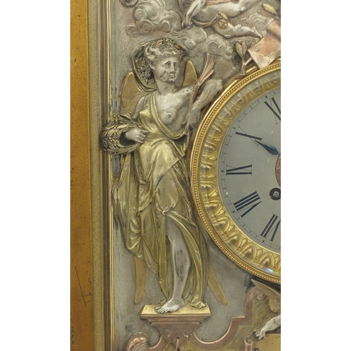 21 - Rare Victorian Elkington and Co clock, cast in relief with maidens and cherubs blowing horns, housed...
