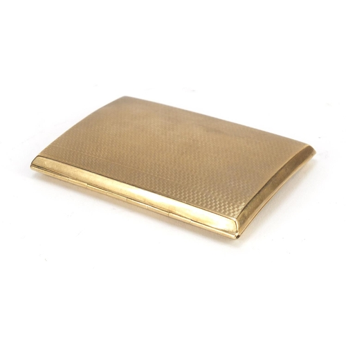 2354 - Rectangular 9ct gold cigarette case with engine turned decoration by Thomas William Lack, London, 8....