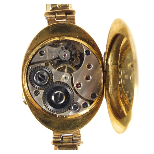 2355 - Ladies 18ct gold wristwatch with unmarked gold strap (tests as 18ct), 27.0g...