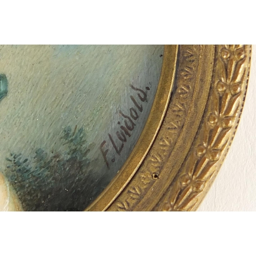 48 - 19th century German circular hand painted portrait miniature of a young female wearing a bonnet, bea...