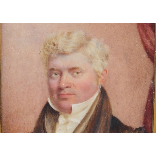44 - 19th century rectangular hand painted portrait miniature of a Gentleman in formal dress, mounted and...