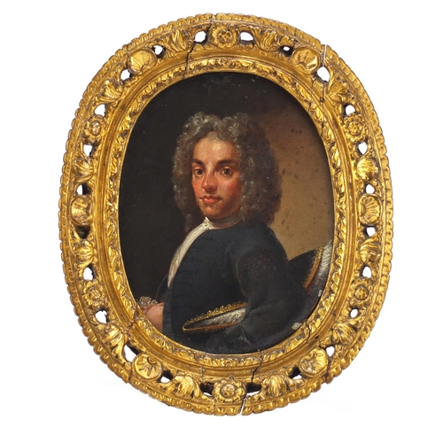 40 - 18th century oval portrait of a gentleman in formal dress, oil on copper, framed, 13cm x 10cm...