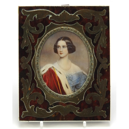45 - Oval hand painted portrait miniature of a female wearing a pearl necklace, housed in a tortoiseshell...