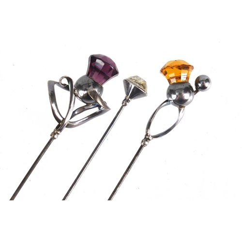 4 - Three Art Nouveau silver hat pins by Charles Horner, the amethyst example Chester 1912, the largest ...