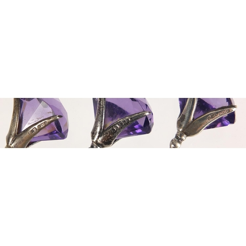 5 - Three matching Art Nouveau silver and amethyst hat pins by Charles Horner, Chester 1918, the largest...