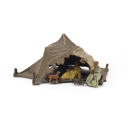 50 - 19th century Austrian cold painted bronze of two Arabs with a dog around a tent by Franz Xaver Bergm...