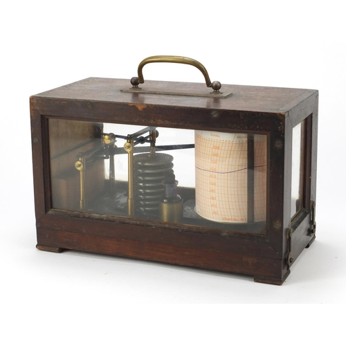 58 - Victorian barograph housed in a glazed mahogany case, the case numbered 598, 19cm H x 28cm W x 13.5c...