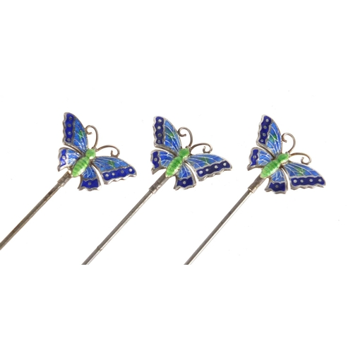 1 - Three matching Art Nouveau silver and enamel butterfly hat pins by Charles Horner, Chester 1910, the...