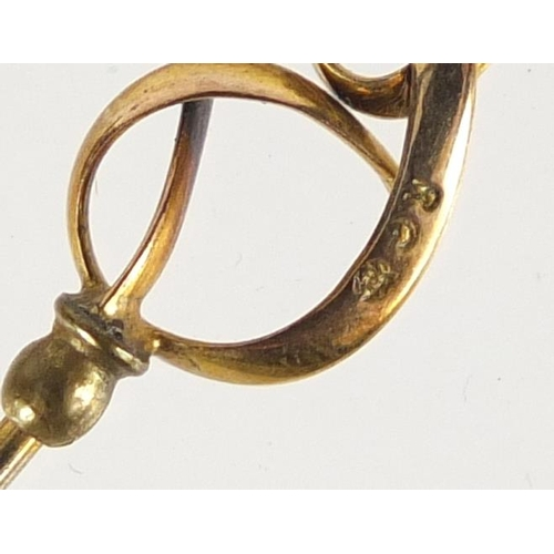 18 - Five Art Nouveau 9ct gold hat pins, the largest 20cm in length...