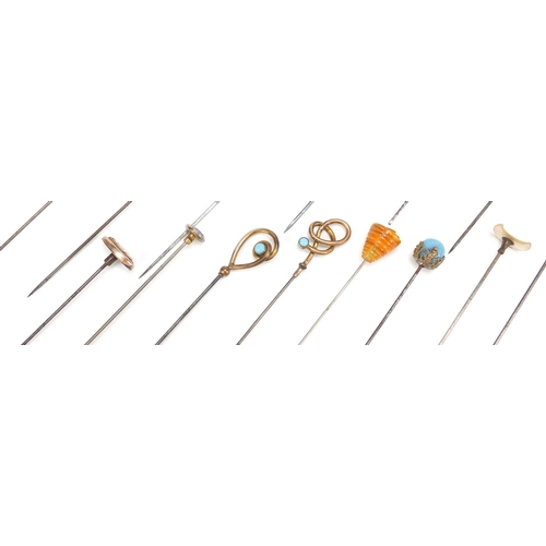 21 - Collection of vintage hat pins including one unmarked gold, some enamelled, cameo and turquoise, the...