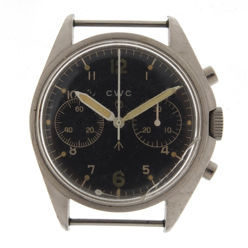 803 - Military interest CWC chronograph wristwatch, engraved 6BB/924-3306 2283/72, the dial 34mm in diamet...