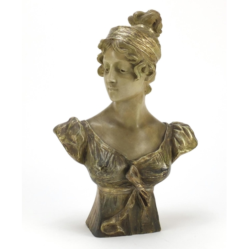 606 - Goldscheider terracotta bust of a young female, signed to the reverse, number 2892 14 36 to the base...