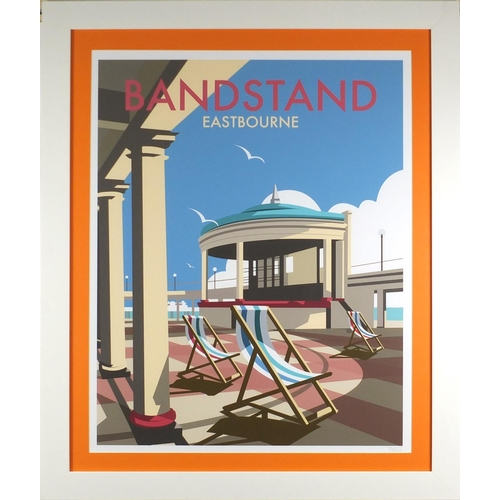 2029 - The Bandstand, contemporary Pop art style pencil signed print bearing an indistinct signature, mount...