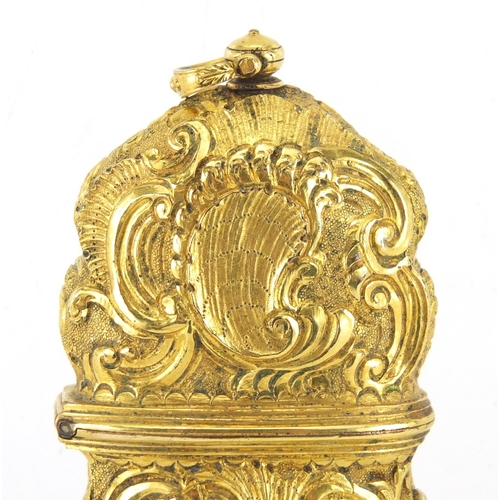 25 - 18th century Rococo gilt metal repoussé etui decorated with nude maidens within C scrolls, the fitte...