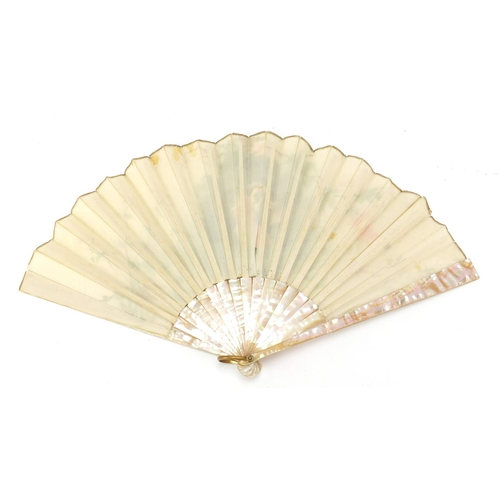 31 - 19th century Silk Brise fan with mother of pearl guards, hand painted with a courting couple in a la...