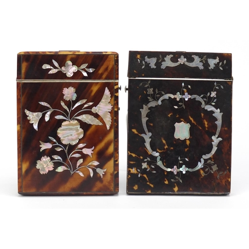 27 - Two Victorian tortoiseshell and abalone calling card cases decorated with flowers, the largest 10.5c...