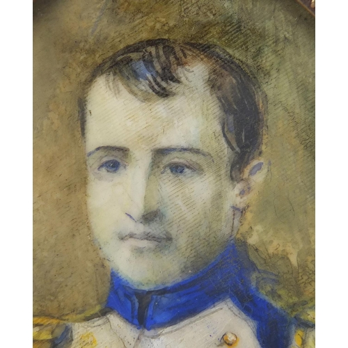 43 - 19th century oval hand painted portrait miniature of Napoleon, housed in a brass frame, 6cm x 4.5cm...