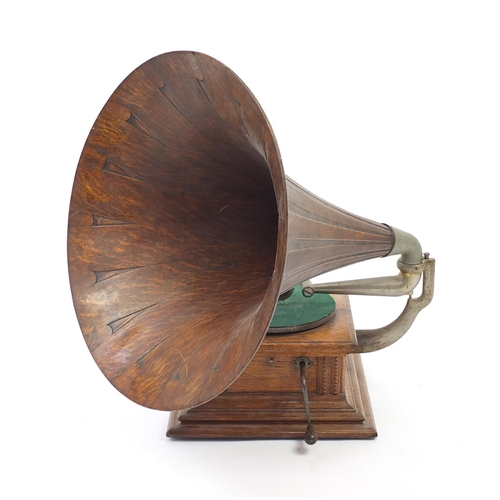 53 - Vintage His Master's Voice oak wind up gramophone with oak horn...