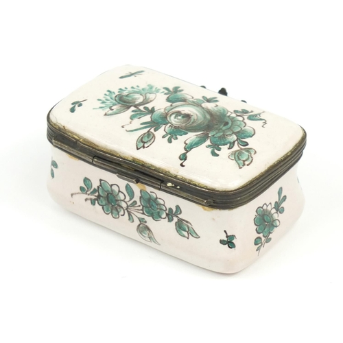 35 - 18th century French trinket box by Veuve Perrin, hand painted with flowers, 7.5cm wide...