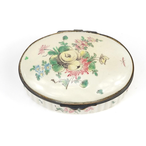 34 - 18th century French oval trinket box by Veuve Perrin, hand painted with flowers and insects, 9.7cm w...