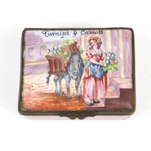 33 - 18th century Bilston enamel trinket box with hinged lid, hand painted with a female and donkey, insc...