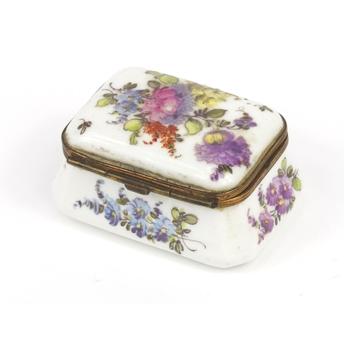 36 - Antique continental porcelain trinket box, hand painted with flowers, blue cross sword marks to the ...