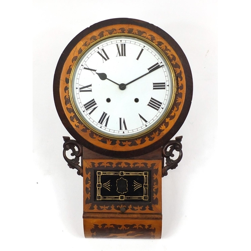 2052 - Victorian inlaid rosewood drop dial wall clock decorated with two greyhounds, the circular dial with...