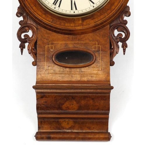 2025 - Victorian burr walnut drop dial wall clock with Roman numerals, 75cm in length...