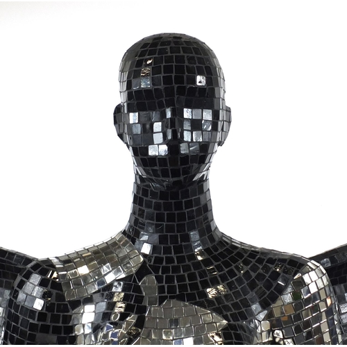 2050 - Mirrored mosaic life size mannequin with wings, 182cm high...