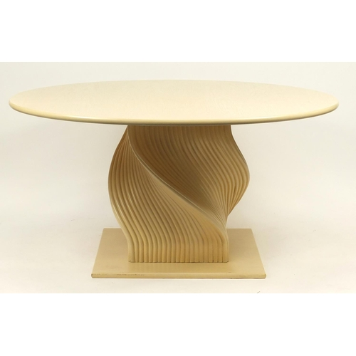 2044 - Contemporary bamboo circular dining table and eight chairs, the table 78cm high x 151cm diameter...