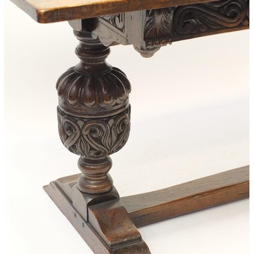 2036A - Oak refectory table with carved cup and cover bulbous  legs, 75cm H x 168cm W x 76cm D