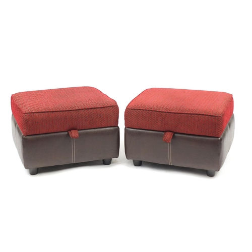 2020 - Contemporary brown leather and red fabric upholstered three seater settee, with two storage foot sto...