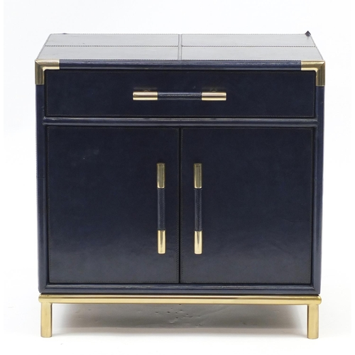 2045 - Retro leather covered side cabinet fitted with a drawer and two cupboard doors, 62cm H x 61cm W x 41...