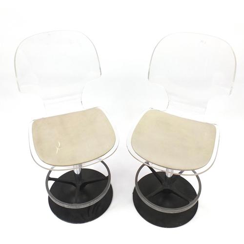 2042 - Pair of vintage Lucite breakfast stools, each 104cm high