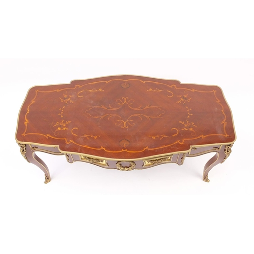 2038 - French inlaid centre table with gilt metal mounts, raised on cabriole legs, 50.5cm H x 111cm W x 57c...