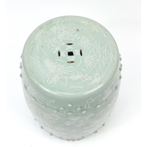 2035 - Chinese celadon glaze barrel shaped garden seat, hand painted with birds of paradise and butterflies...