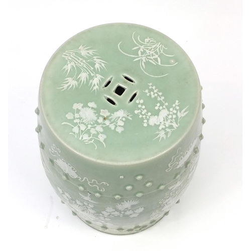 2034 - Chinese celadon glaze barrel shaped garden seat, hand painted with birds of paradise and butterflies...